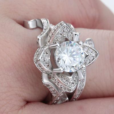Fashion Women 925 Silver ,Gold Lotus Flower White Topaz Ring Set Wedding Jewelry 5