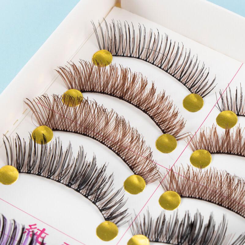 10 Pairs Natural Handmade False Eyelashes Colorful Fake Eye Lashes Extension 3