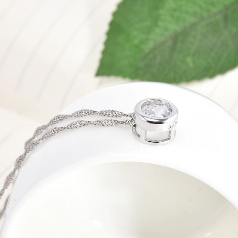 Fashion Women Round Single Crystal Rhinestone Silver Pendant Necklace Jewelry 11