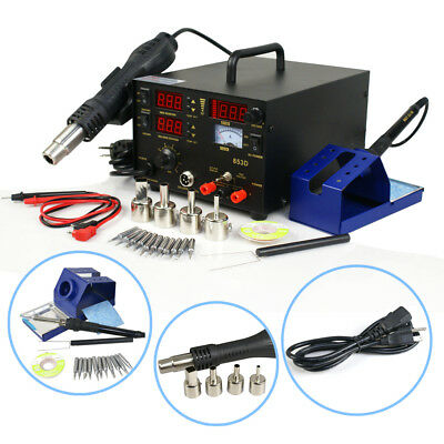 3 in 1 853d SMD DC Power Supply Hot Air Iron Gun Rework Soldering Station 700W 8
