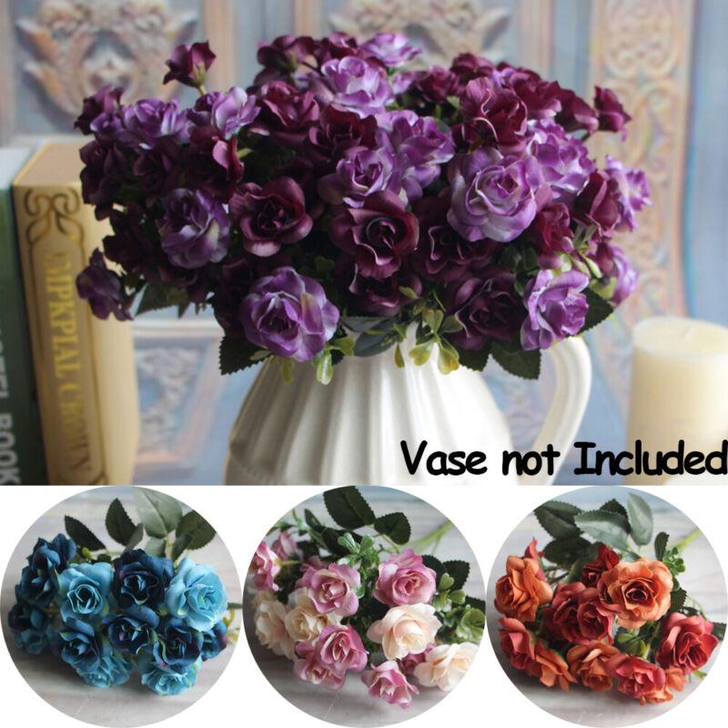 15 Heads/Bunch Artificial Fake Silk Rose Flower Bouquet Home Bridal Party Decor 3