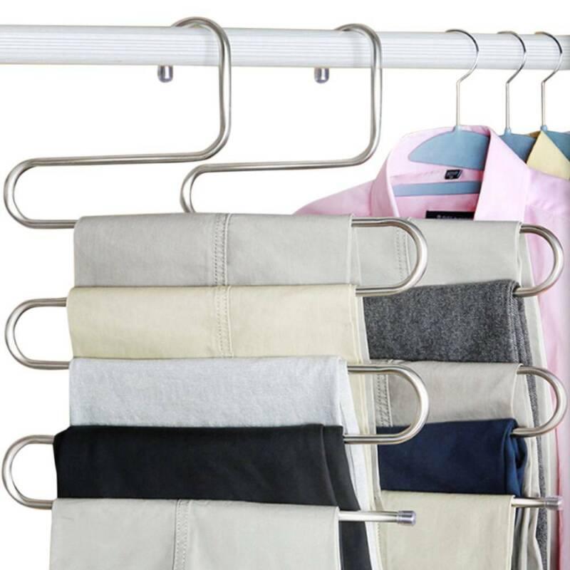 1-10pcs Pants Hangers Trousers S Type Layer Holder Scarf Tie Towel Rack Multi AU 2