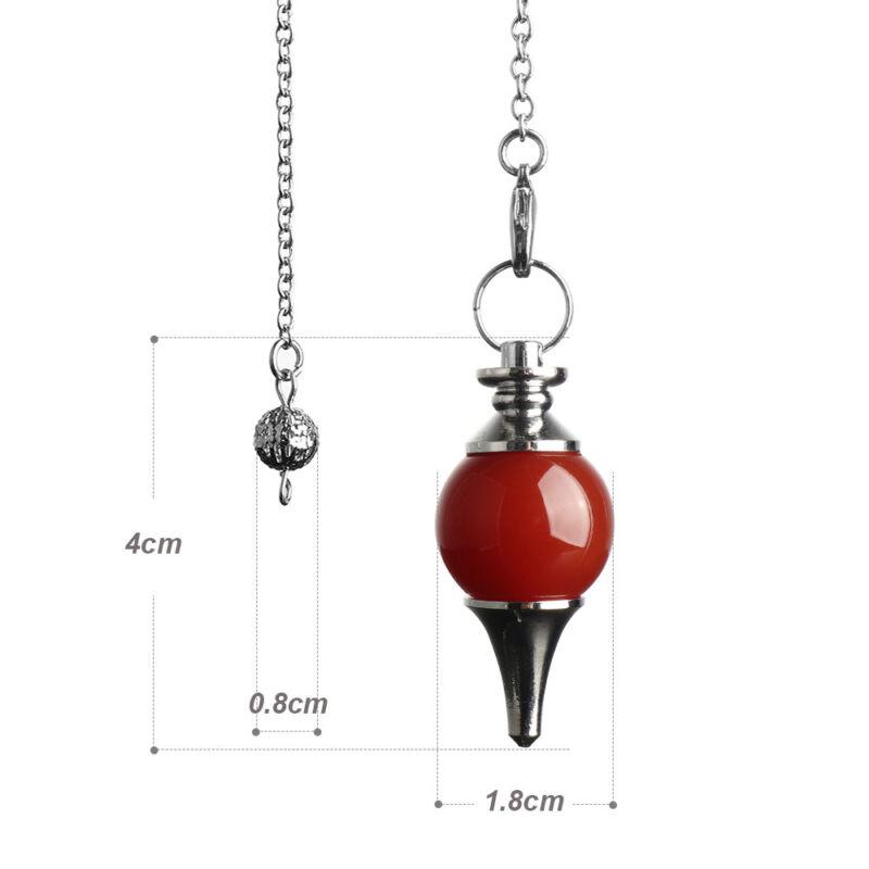Balance Reiki Natural Stone Crystal Pendulum Circular Cone Charm Pendant~ 8