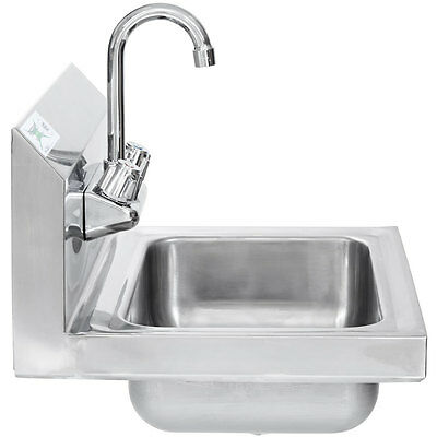 "17"" x 15"" Hand Wash Sink w/ FAUCET Commercial Stainless Steel Wall Mount Kit"