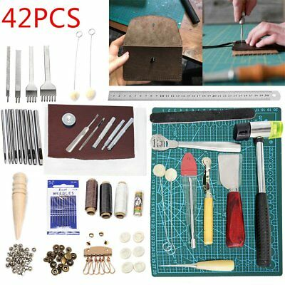42Pc Vintage Leather Craft Kit Stitching Sewing Beveler Punch Working Hand Tools 2