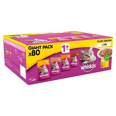 80 x 100g Whiskas 1+ Adult Wet Cat Food Pouches Mixed Poultry Jelly 3