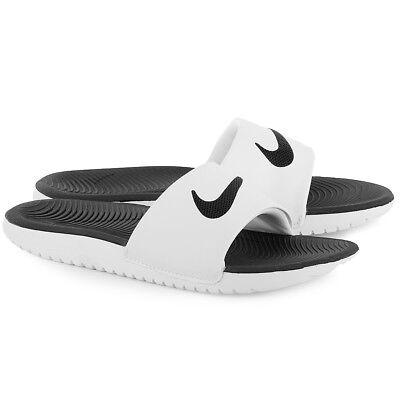 Nike Kawa Slide Slider Slip On Solar Soft Pool Sandals Junior Womens White Black 3