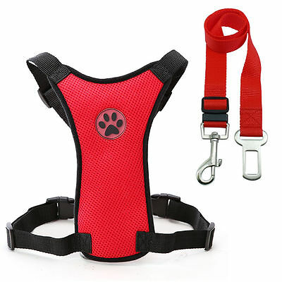 Breathable Air Mesh Dog Car Harness for Small Large Dogs Travel Seat belt Clip 3