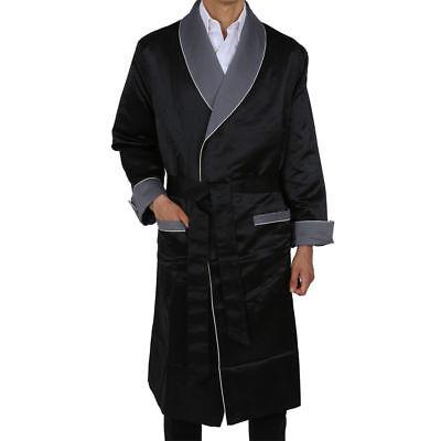 Mens Smoking Jacket Luxury Black Robe de chambre Dinner Host Gown Coat Jacket