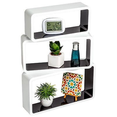 Set of 3 Floating Wall Shelf Floating Shelves Storage living Lounge Wood Cube 16 2
