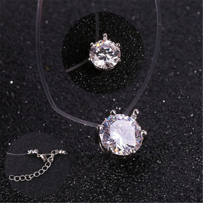 Fashion Crystal Necklace Invisible Line Zircon Clavicle Chain Women Accessories 5
