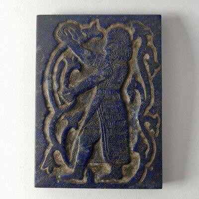 Mesopotamia Sumerian Gligamesh King Old Lapis Lazuli Engraved Stone #204 2