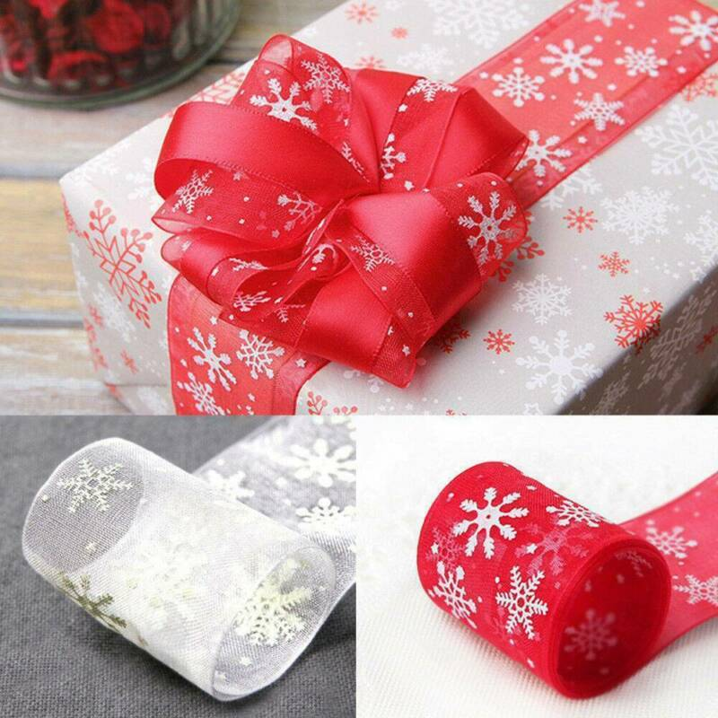 10M Wired Red & Gold Glitter Snowflake Christmas Ribbon Xmas Cake Wreath Tree 3