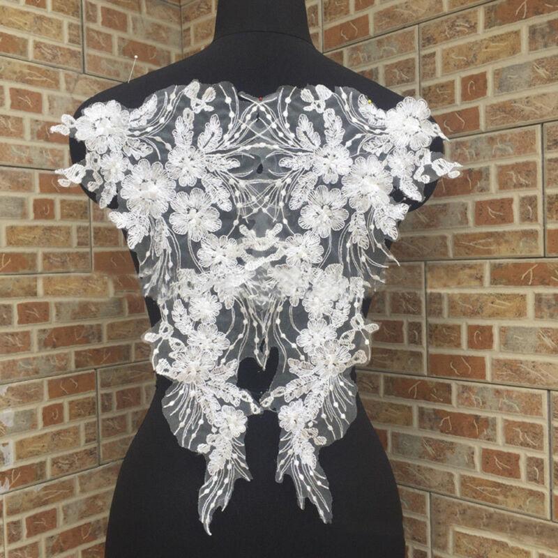 1Pair DIY Lace Appliques Trim Embroidery Sewing Wedding Bridal Elegant Crafts 4
