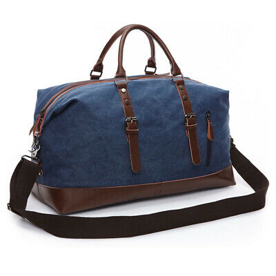 Vintage Men's Canvas Leather Travel Duffle Bag Shoulder Weekend Luggage Gym Tote 4