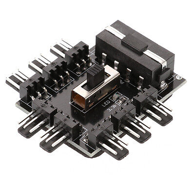 8 Way 3 gear PC PCI Cooler Cooling Fan Speed Controller Hub Power Adapter