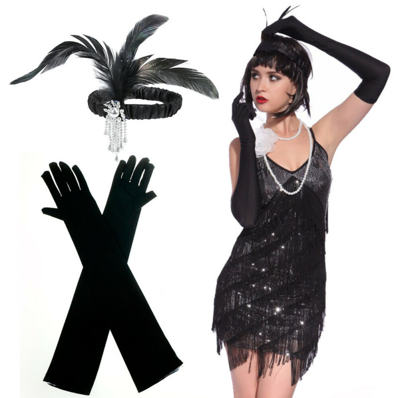 d8eb67a2f554 Set di accessori per costumi Charleston Girl da donna di Gatsby 3 3 di 11  ...