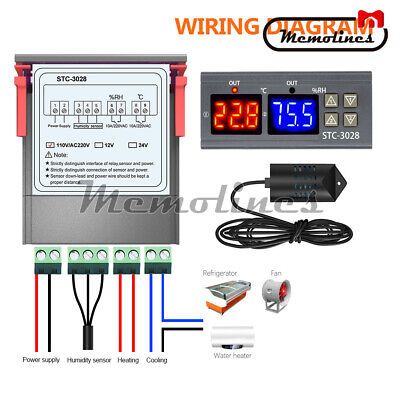 AC110-220V 10A STC-3028 Dual LED Temperature&Humidity Control Thermostat Probe 7
