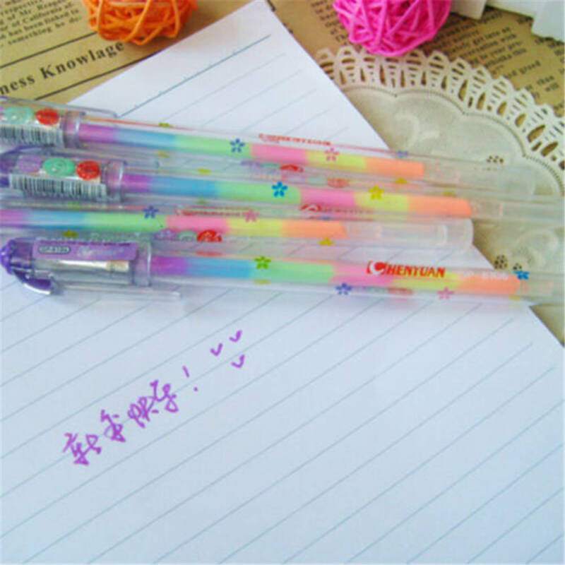 1Pc Novelty Gradient 6 Colors In 1 Gel Ink Pen Colorful Rainbow Student Pen Gift 4