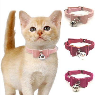 Small Pet Dog Cat Collar Leather Bow Tie With Bell Puppy Kitten Necktie Collar 8