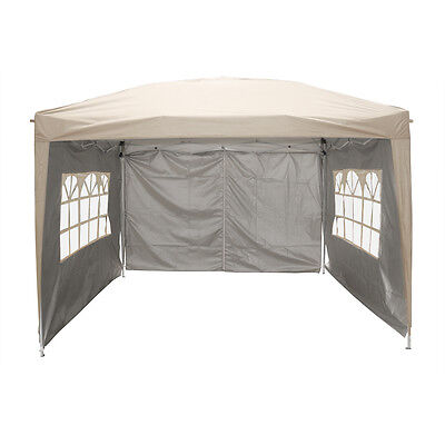 3x3m Pop Up Gazebo Marquee Outdoor Garden Party Tent Canopy 4 Side Panels New 3