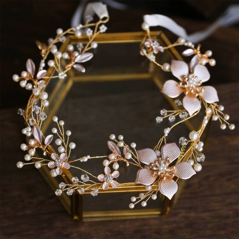 Chic Wedding Headband Bridal Headpieces Long Pearls Flower Gold Hair Accessories 3