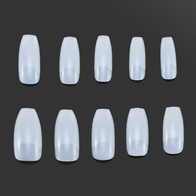 HOT 100Pcs Professional Fake Nails Long Ballerina Half French Acrylic Nail Tips 11