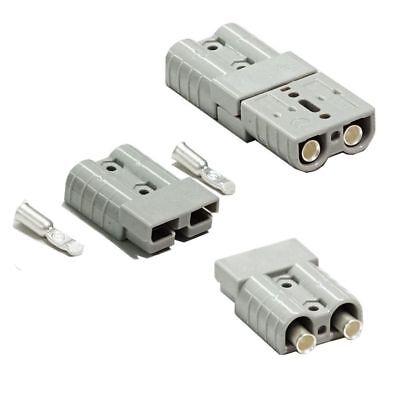 Pair Anderson Style Plug connector 50AMP Caravan Trailer Solar 6AWG GREY AU 3