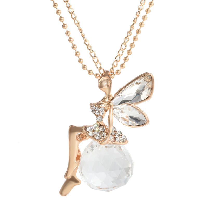 Fashion Women Crystal Fairy Angel Wing Pendant Long Chain Sweater Necklace Gift 10