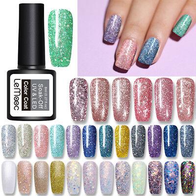 LEMOOC 8ml Smalto Gel UV per Unghie Paillettes Luccicanti Nail Art UV Gel Polish