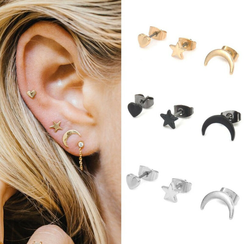 3PCS/SET CUTE SMALL Moon Star Heart Ear Stud Earrings Women's Fashion  Jewelry