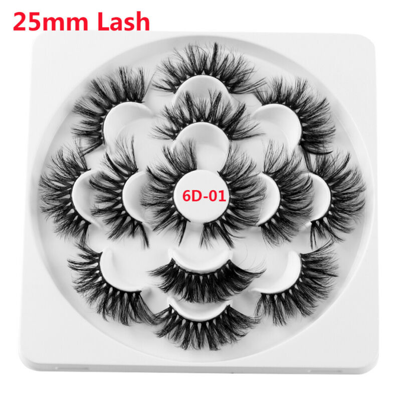 SKONHED 7 Pairs 25mm 6D Mink Hair False Eyelashes Thick Wispy Fluffy Lashes NEW 4