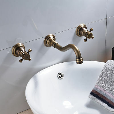 3Pcs Antique Brass Bathroom Basin Faucet Vanity Sink Faucet Mixer Tap Wall-mount 4