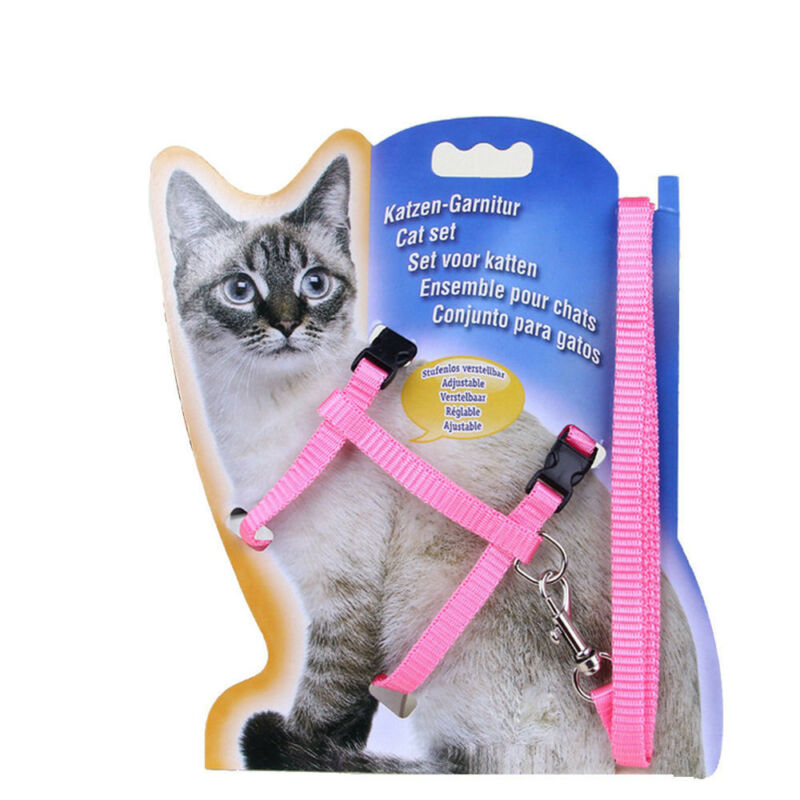 solid Cat Puppy Adjustable Harness Collar Nylon Leash Lead Safety Walking Rope 5