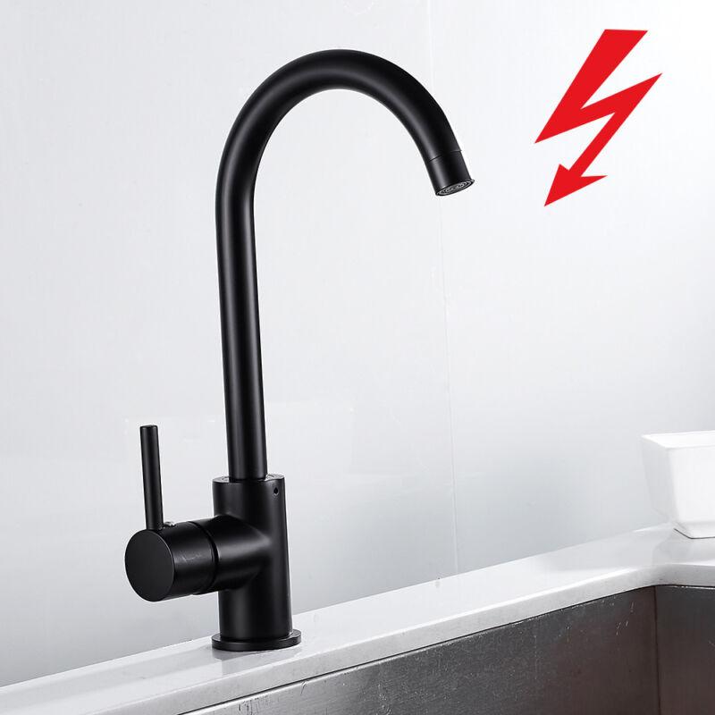 KÜCHENARMATUR NIEDERDRUCK SPÜLTISCH Armatur Wasserhahn Küche Schwarz  Einhebel