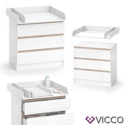 VICCO Wickelkommode Emma - Baby Wickeltisch Kommode mit 3 Schubladen Weiß Sonoma 9