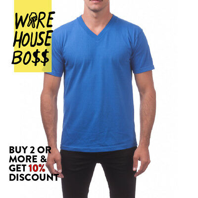 c8de58955d08 ... Proclub Pro Club Mens Casual V-Neck T Shirt Plain Short Sleeve Shirts  Cotton Tee