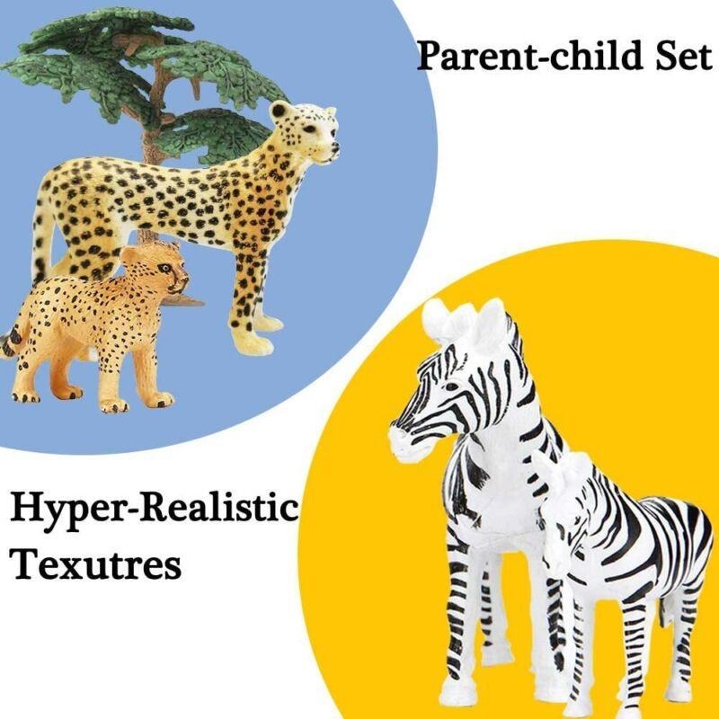 Safari Animals Figures Toys 20 Piece Realistic Plastic Jungle Zoo Playset