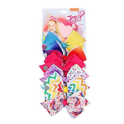 JOJO SIWA 6 Pieces/Set Rainbow Printed Knot Ribbon Bow Hair Chip For Kids Girls 2