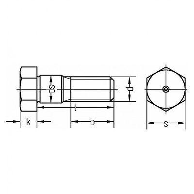 DIN 609 Sechskant-Passschraube M14x80 Stahl 8.8 blank m Gewindezapfen