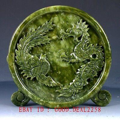 100% Natural Jade Handwork Carved Dragon & Phoenix Screen NYF01`a 7