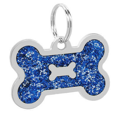 Glitter Bone Shape Personalized Dog Tags Engraved Pet ID Name Collar Tag Charm 12