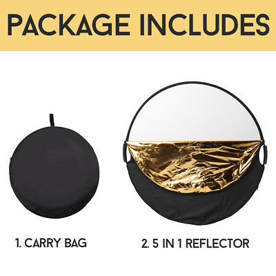 110CM 5in1 photo reflector With Handle Grip Studio Photography Light Collapsible 12