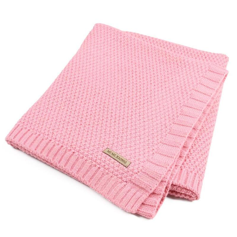Solid Cotton Knitted Baby Blanket Soft Warm Cover for Boys Girls Kids 7 Colors 11