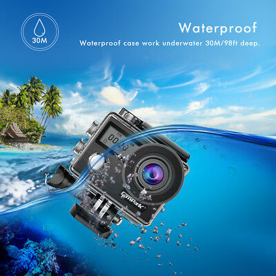 Campark X20 Action Sport Kamera Touchscreen WiFi HD 4K 20MP Wasserdicht Dual LCD 8