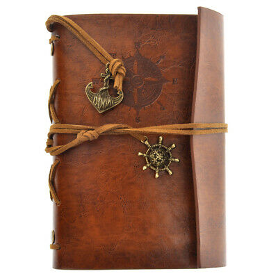 Vintage Retro Journal Travel Diary Notepad Leather Cover Blank Note Book Brown 4