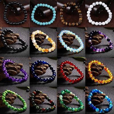 Natural Stone Bead Bracelet Men Women Tiger Eye Turquoise Bangle Jewelry Gift 8