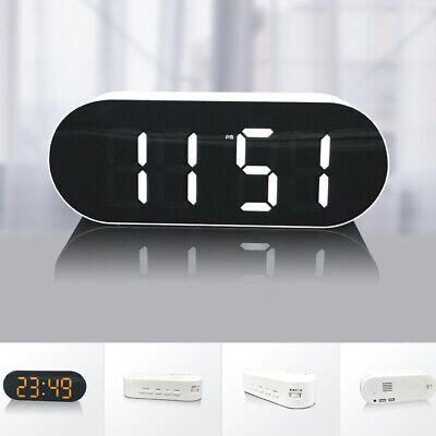 Dual USB Spiegel LED Wecker Digital Tischuhr Alarm Schlummern Nachtlicht Clock