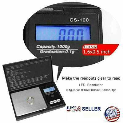 Digital Scale 1000g x 0.1g Jewelry Pocket Gram Gold Silver Coin Herb Precise NEW 2