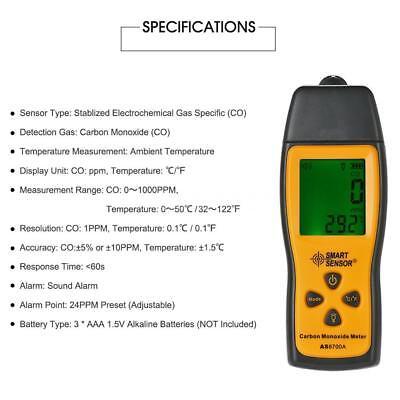 SMART SENSOR Handheld LCD Carbon Monoxide Meter CO Tester Monitor Detector Gauge 3